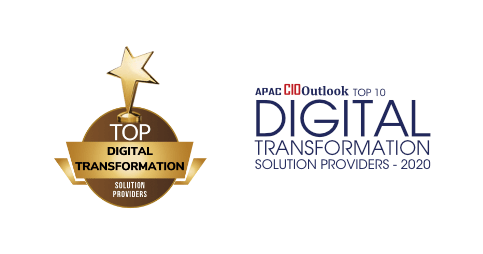 """Award banner with the texts """"APAC CIOoutlook Top 10 Digital Transformation Solution Providers-2020"""""""